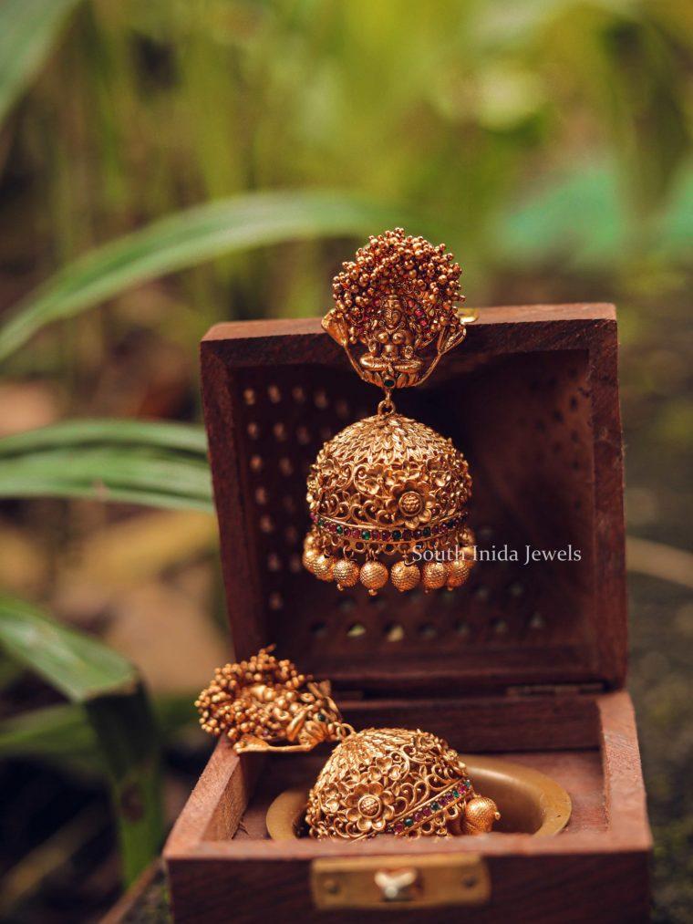 Grand Golden Beads Lakshmi Jhumka