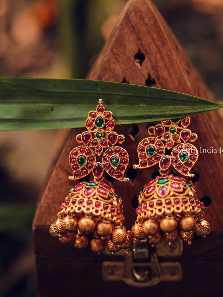 Grand Kemp Golden Beads Jhumka