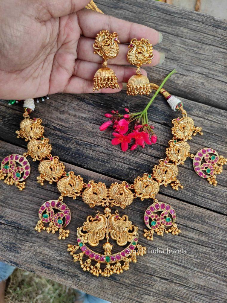 Grand Peacock Design Five Pendant Necklace