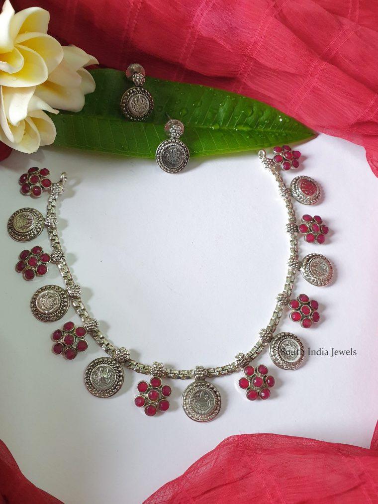 Imitation German Silver Lakshmi Kasu Necklace-01