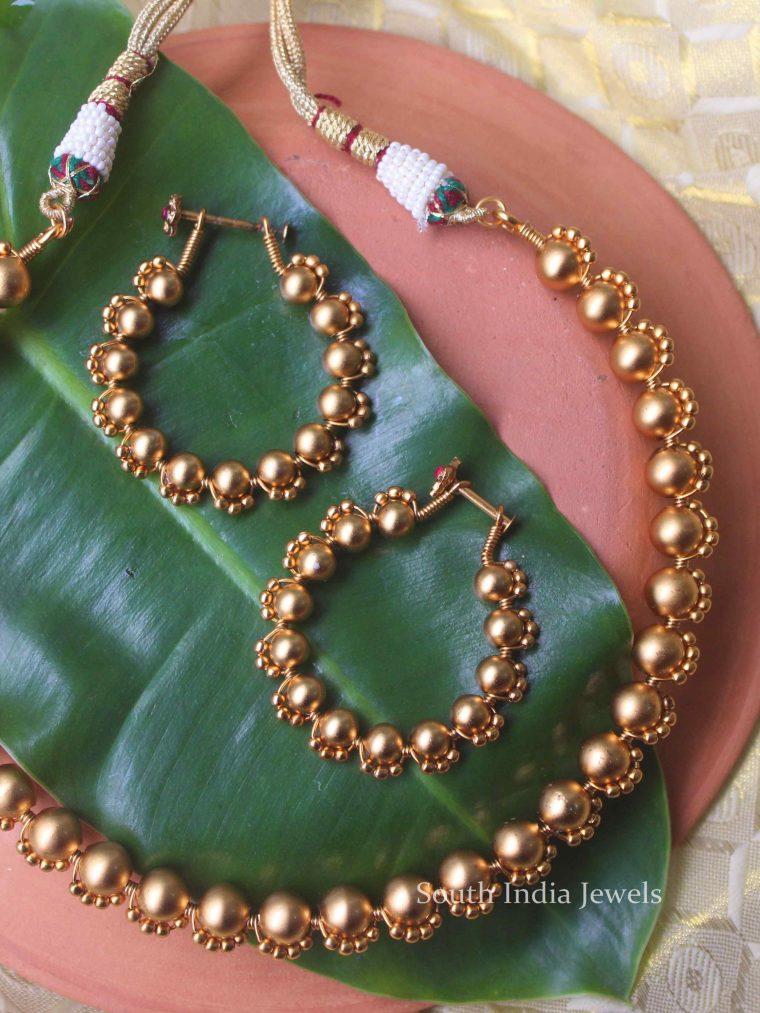 Imitation Golden Babble Casting Necklace Set