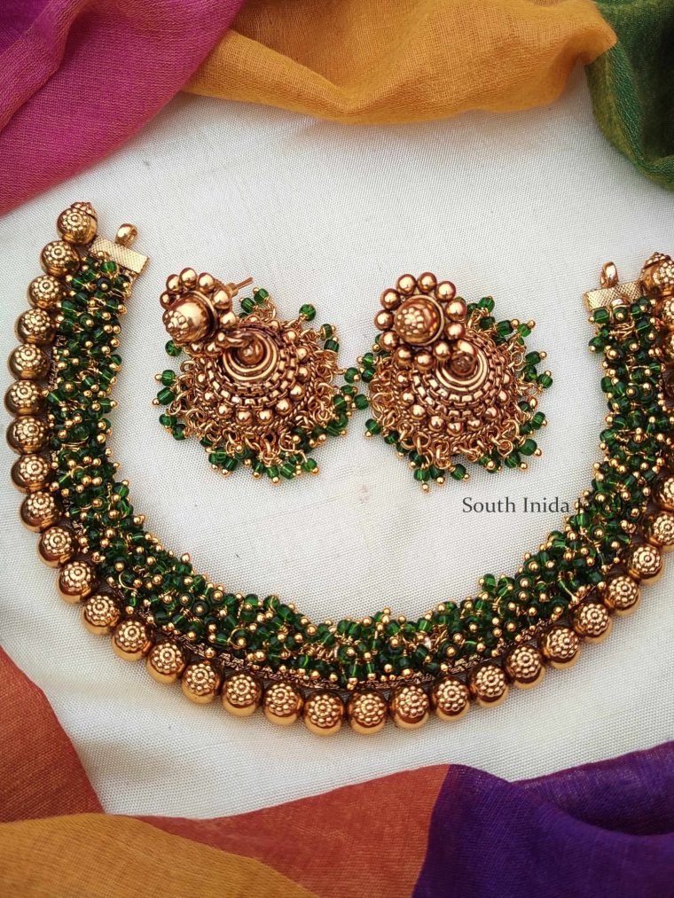 Latest Loreal Green Necklace With Earrings