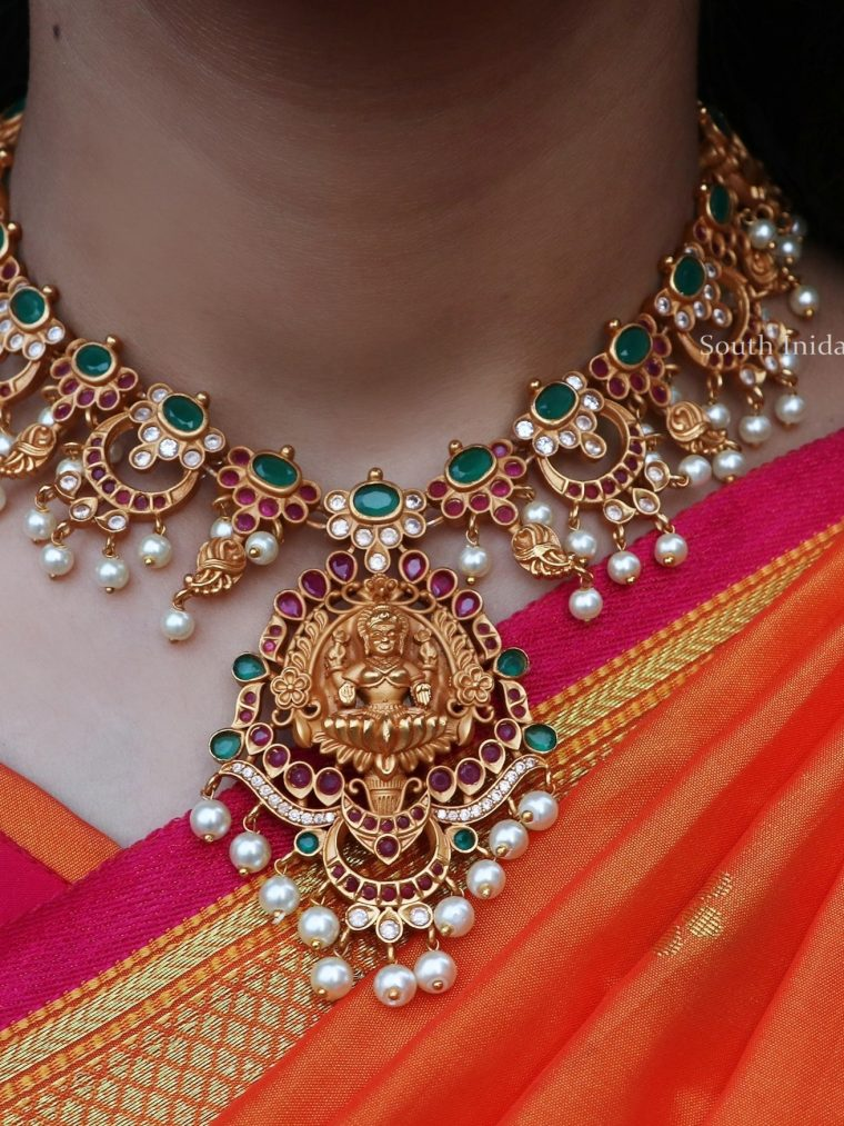 Matte Finish Chandbali Design Lakshmi Necklace