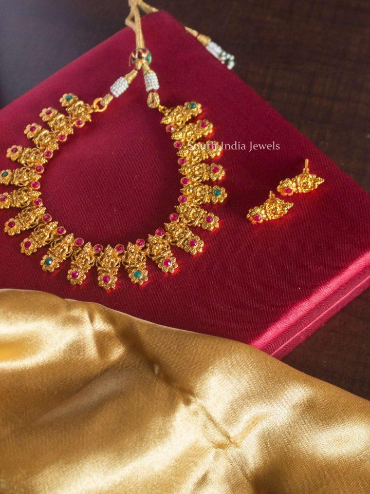 Matte Finish Flower Design Lakshmi Necklace