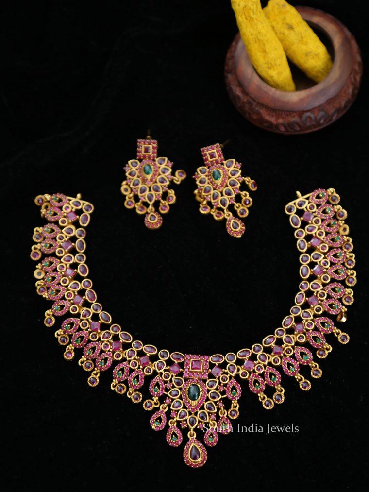Matte Finish Kemp Stone Designer Necklace-01