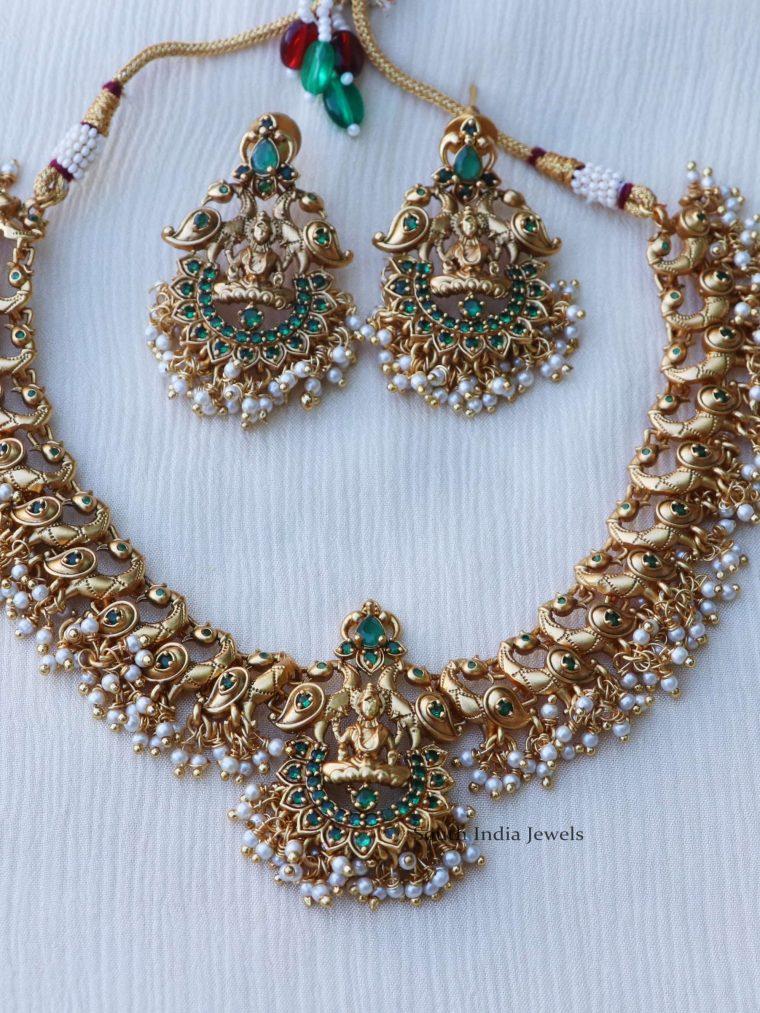 Peacock & Lakshmi Design Pearl Cluster Necklace
