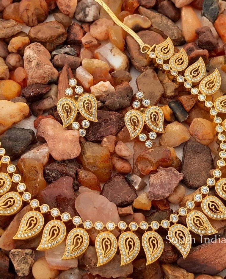 Pretty Mango Design CZ Necklace