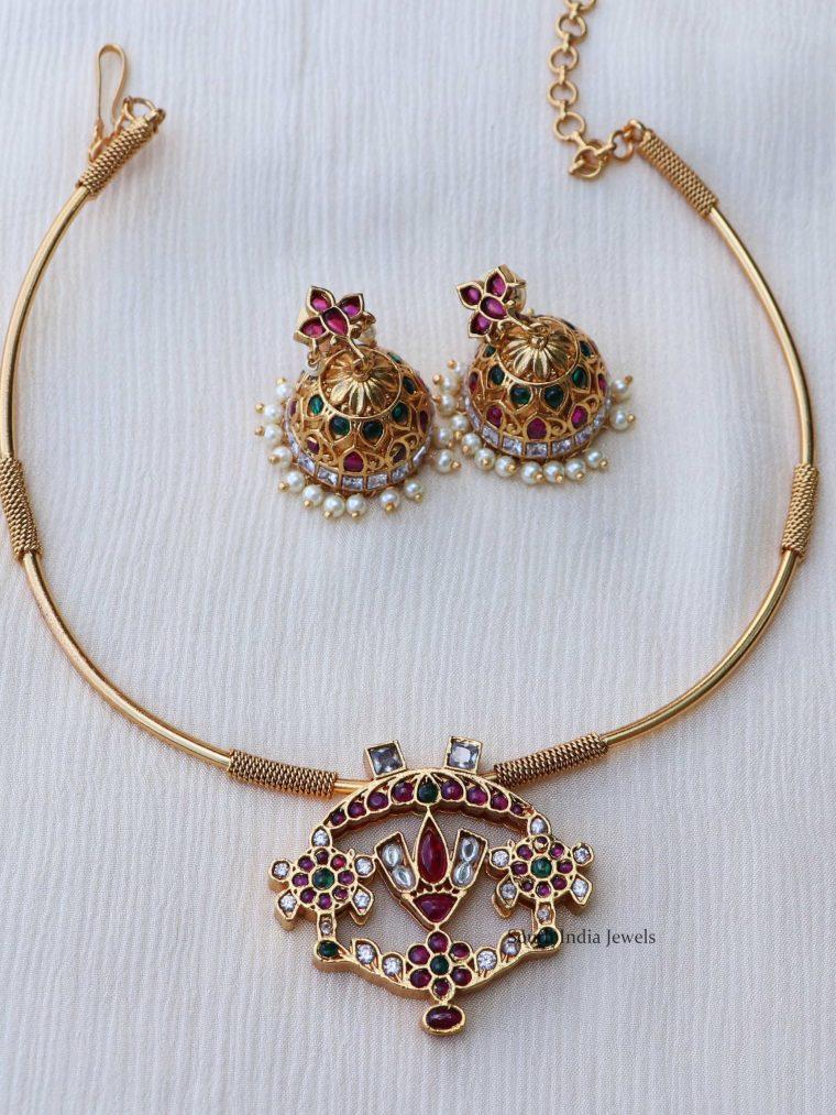 Simple Multi Stone Attigai Necklace Set