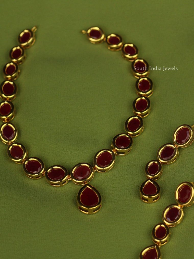 Simple Ruby Stone Necklace Set