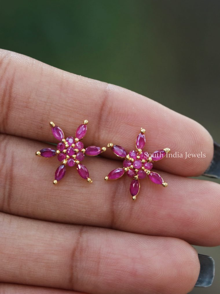 Star Design Ruby Studs-01