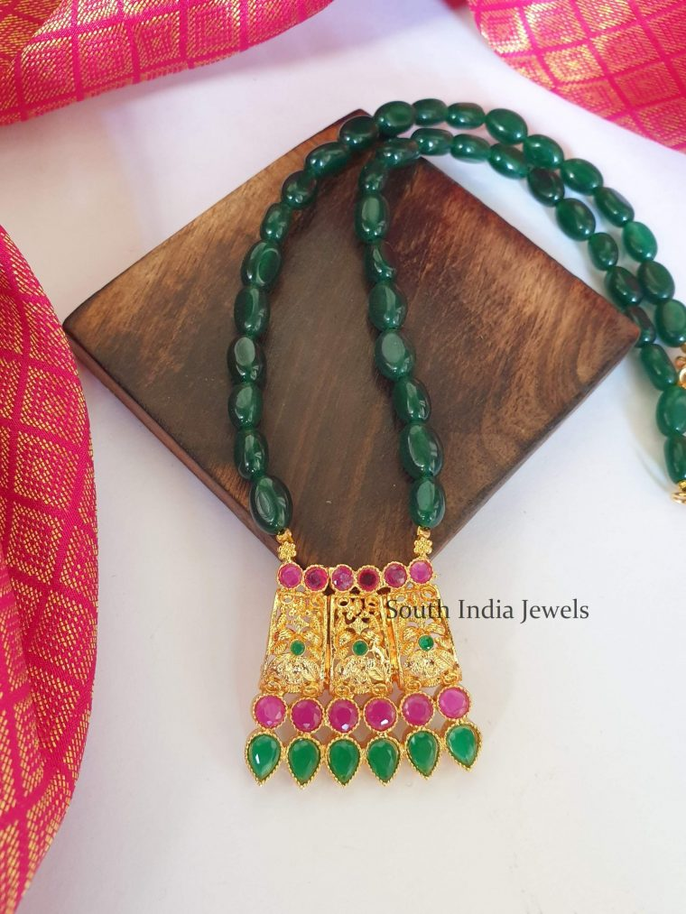 Stunning Green Beads Long Chain