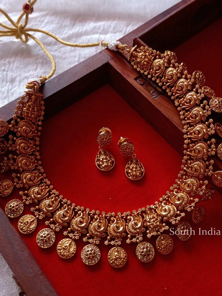 Stunning Lakshmi Coin Peacock Necklace