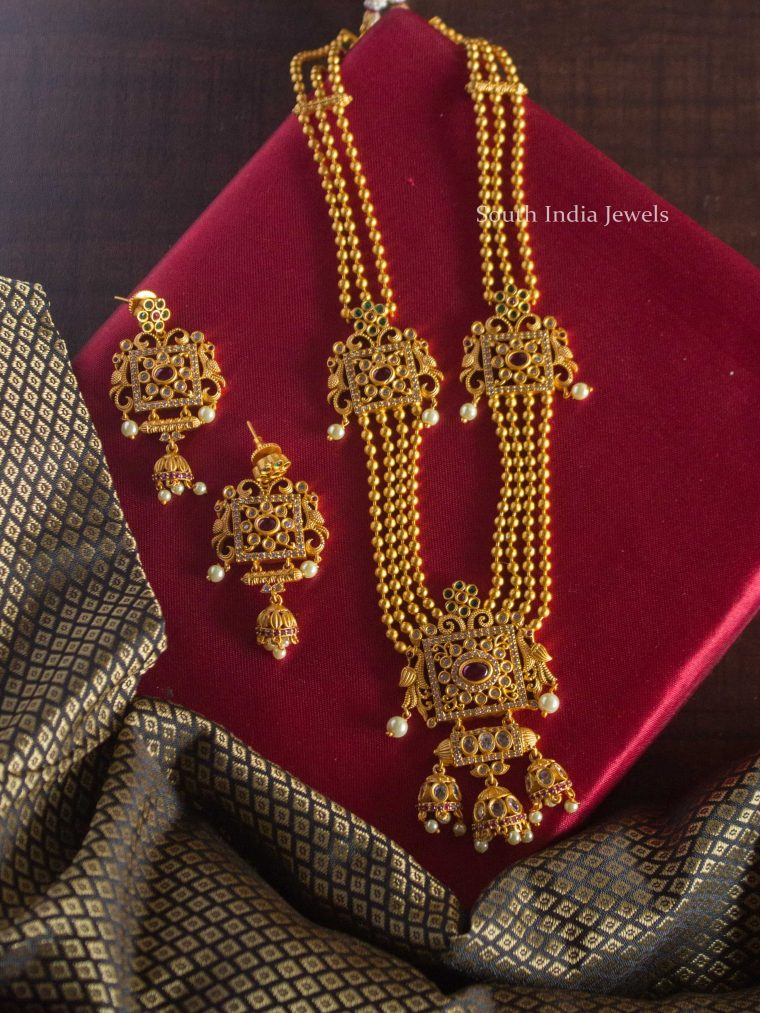 Three Layer Golden Beads Long Haram