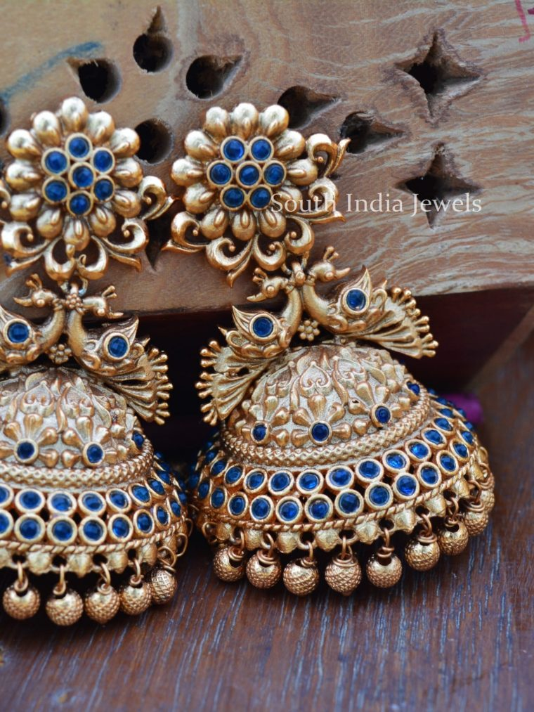 Traditional Gold Bead Peacock Jhumkas