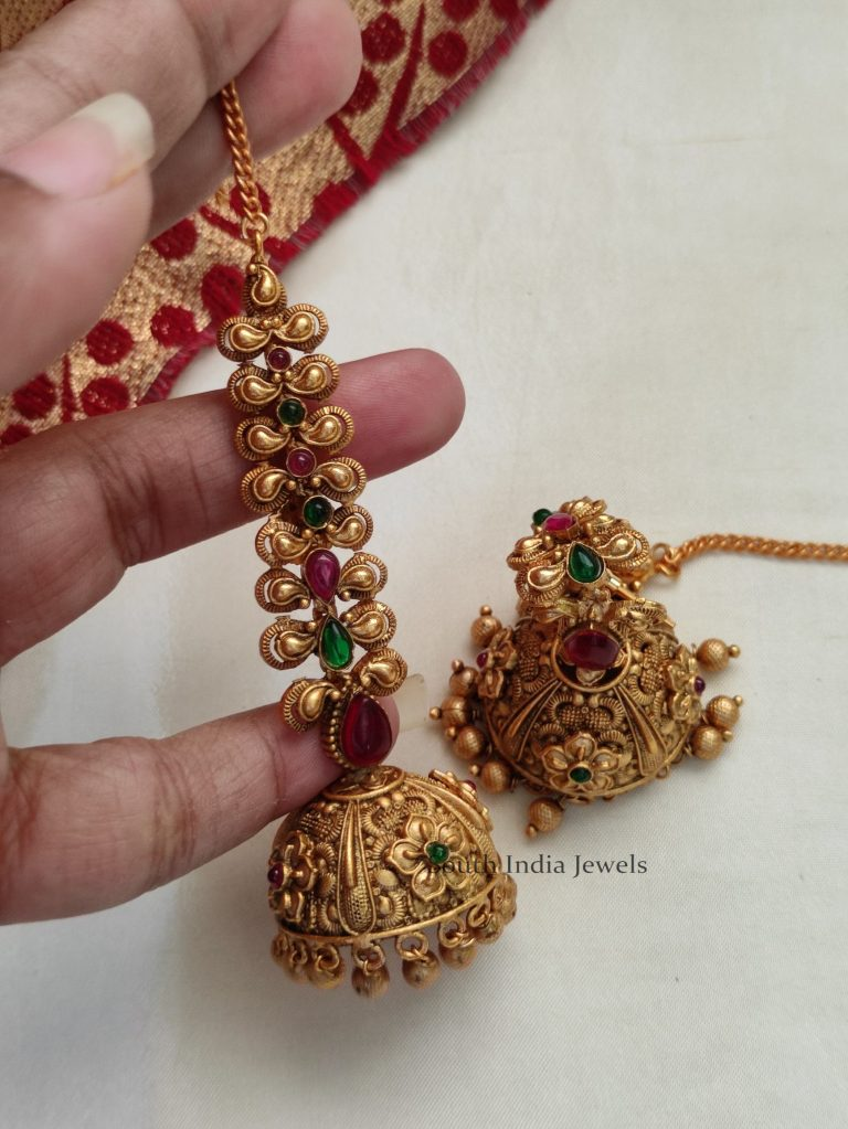 Traditional Kemp Stone Jhumka with Mattal
