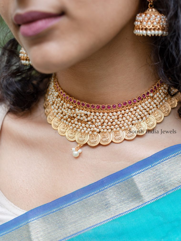 Traditional Lakshmi Coin Pearl Choker