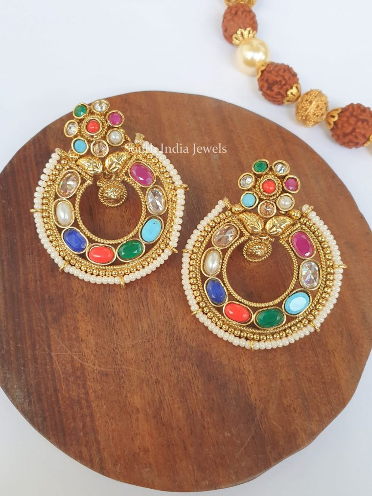 Traditional Navarathna Chandbali Earrings