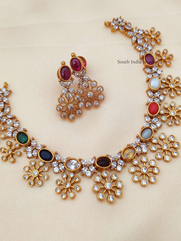 Traditional Navarathna Floral Necklace