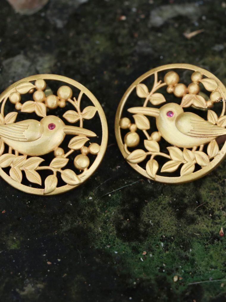 Trendy Gold Finish Bird Ear Studs