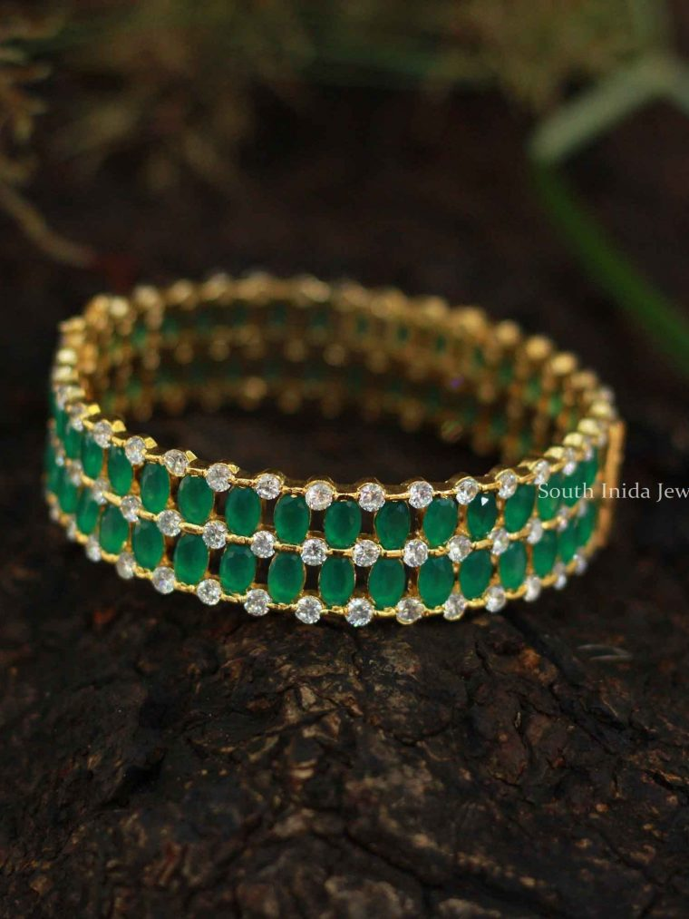 Trendy Green and White Stone Bangles