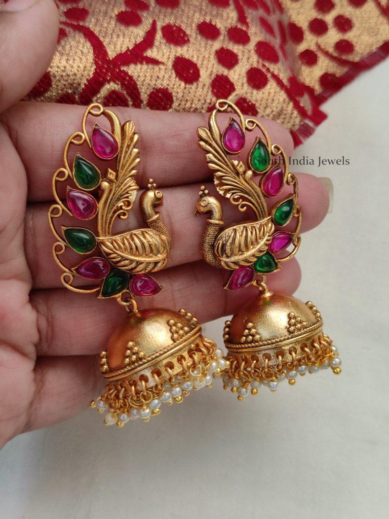 Trendy Peacock Design Kemp Jhumka