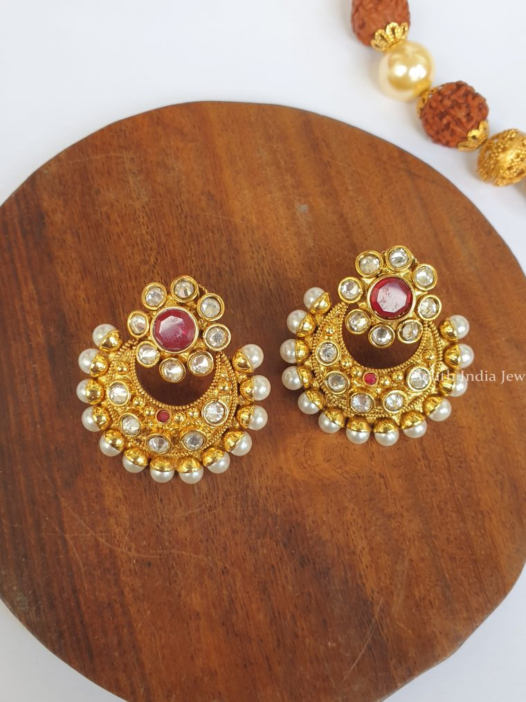 Trendy White Kundan Stone Earrings