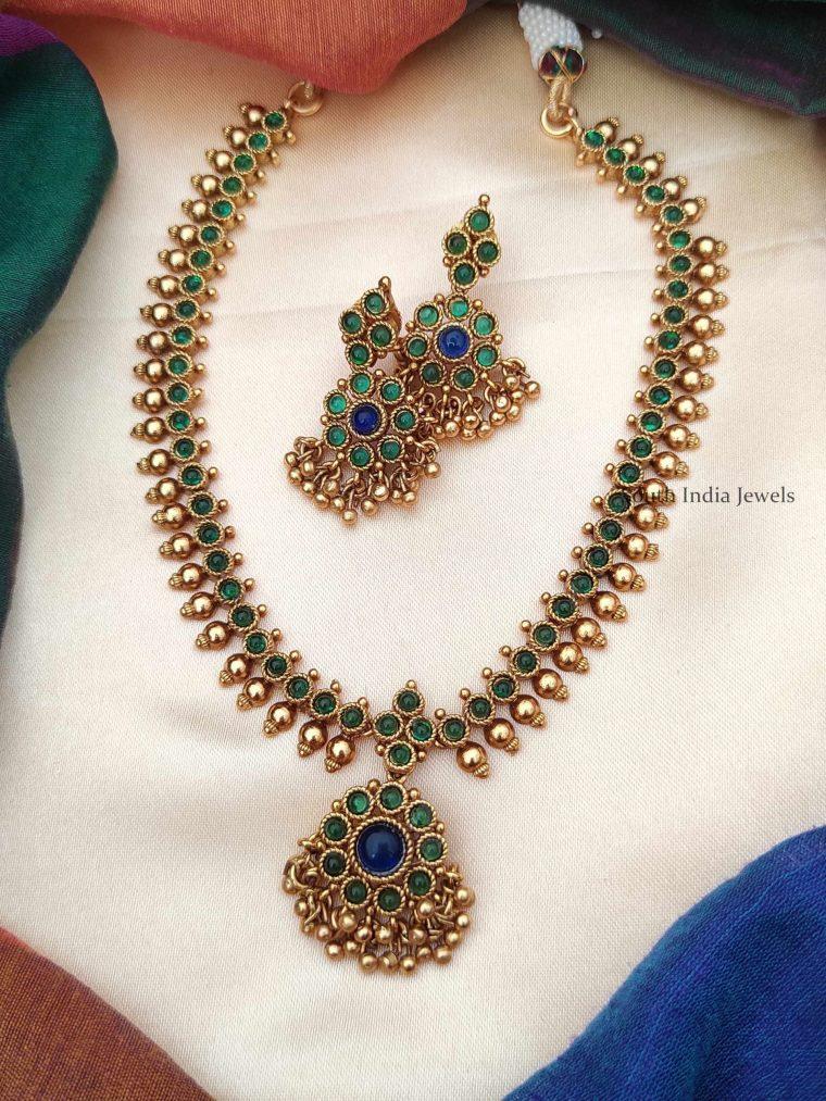 Unique Green and Blue Attigai Necklace