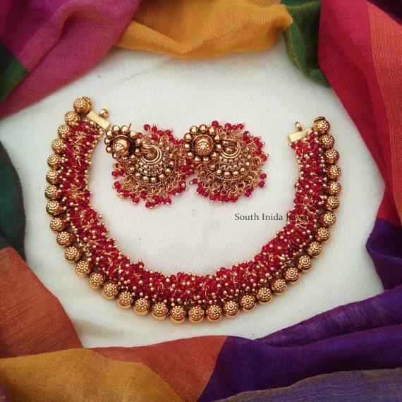 Unique Loreal Red Guttapusalu Necklace