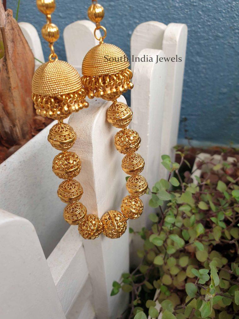 Unique Matte Finish Jhumka Necklace