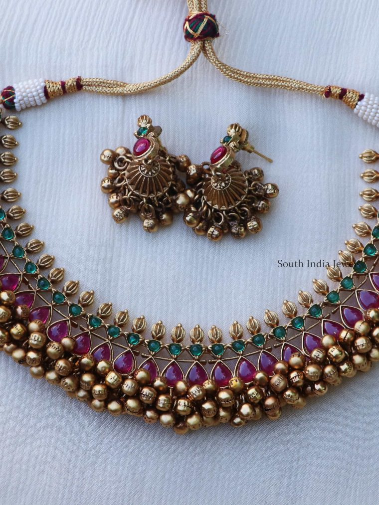 Unique Ruby and Green Stone Ghungroo Necklace