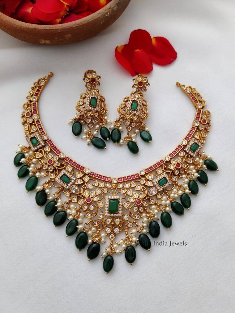 AD Multi Stone Necklace with Green Hangings-01