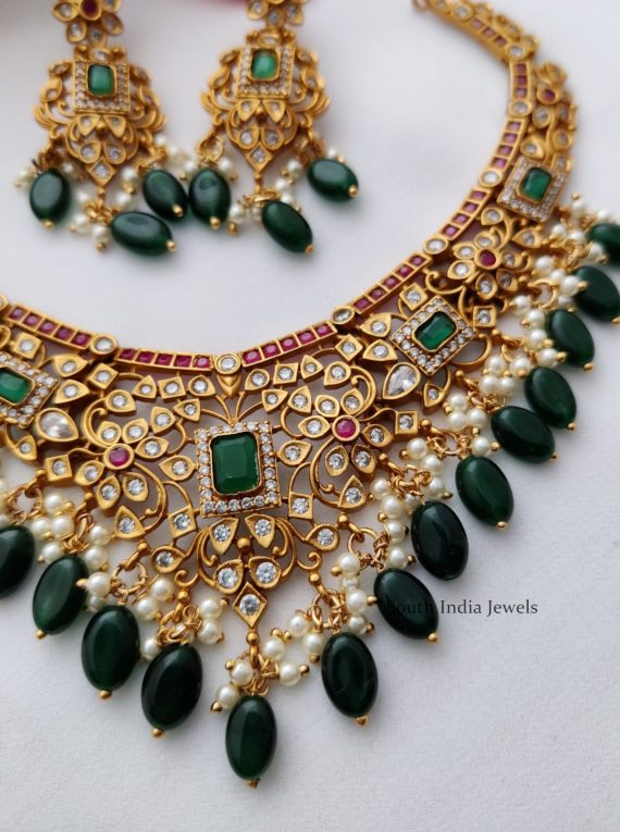AD Multi Stone Necklace with Green Hangings-02