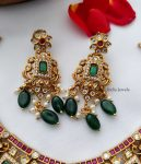 AD Multi Stone Necklace with Green Hangings-03