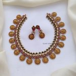 Adorable Lakshmi Ruby and Green Stone Necklace-01