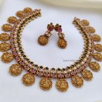Adorable Lakshmi Ruby and Green Stone Necklace-02