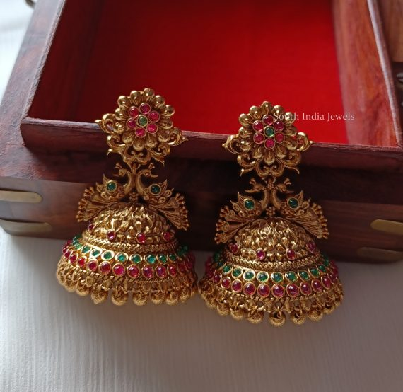 Antique Peacock Design Flower Jhumkas