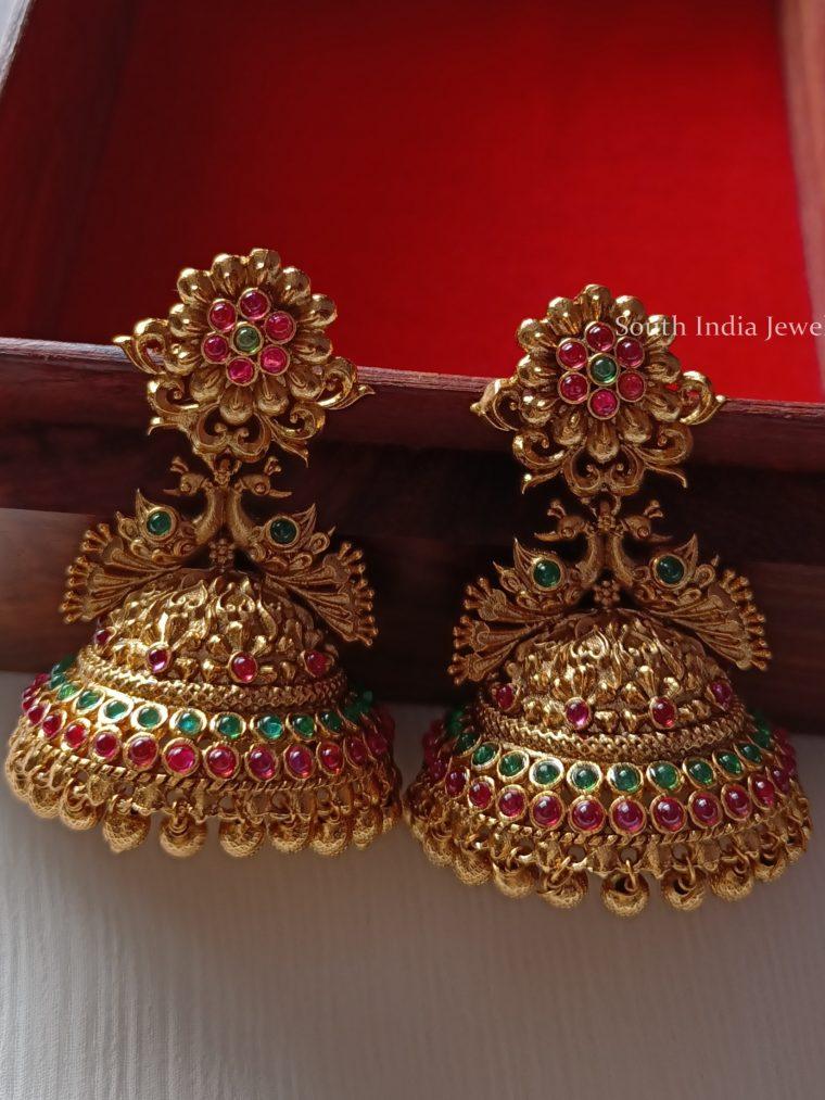 Antique Peacock Design Flower Jhumkas