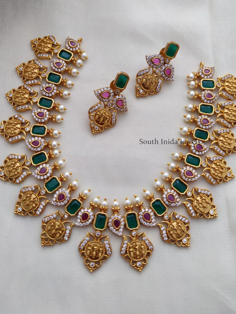 Beautiful Green and Red Ram Parivar Necklace