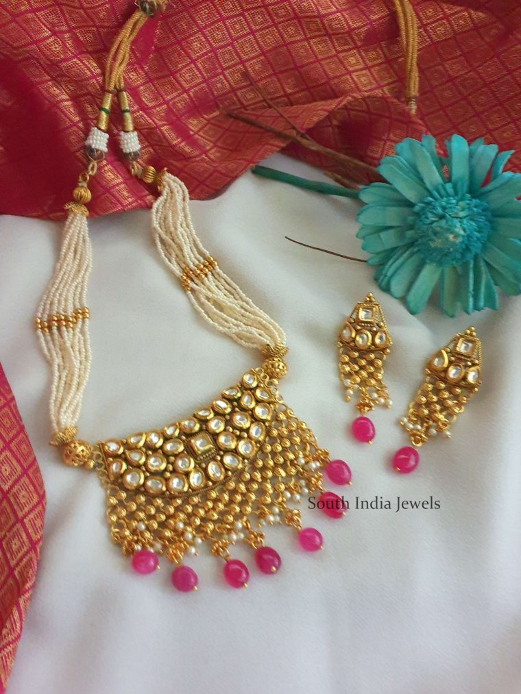 Beautiful Kundan Pendant Pearl Necklace (3)