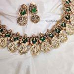 Beautiful Lakshmi Ganesh Green Stone Necklace (2)