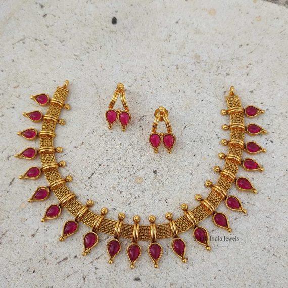 Beautiful Mallu Design Red Stone Necklace