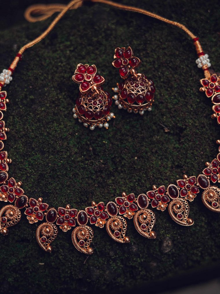 Beautiful Mango Design Floral Ruby Necklace