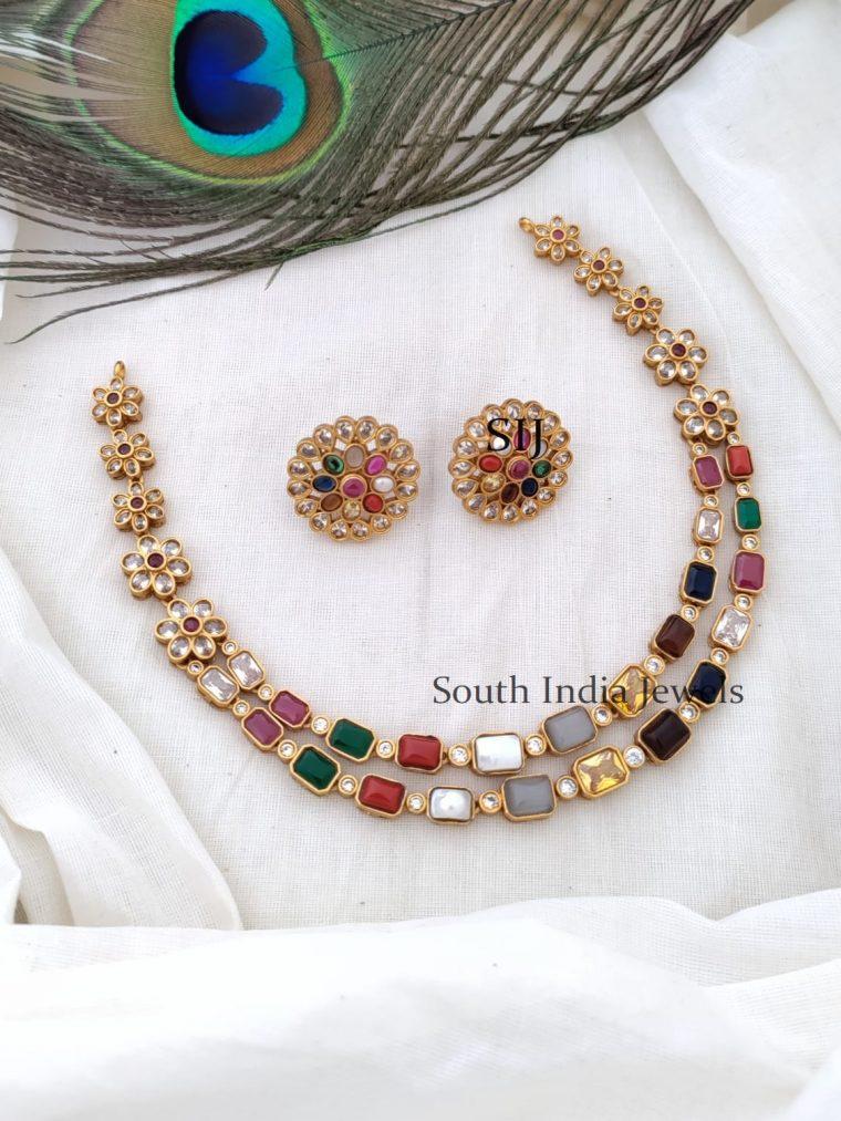 Beautiful Navarathna Stone Two Layer Necklace