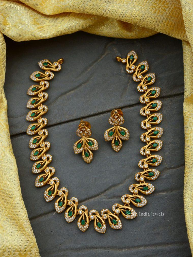 Beautiful Peacock Design AD Necklace