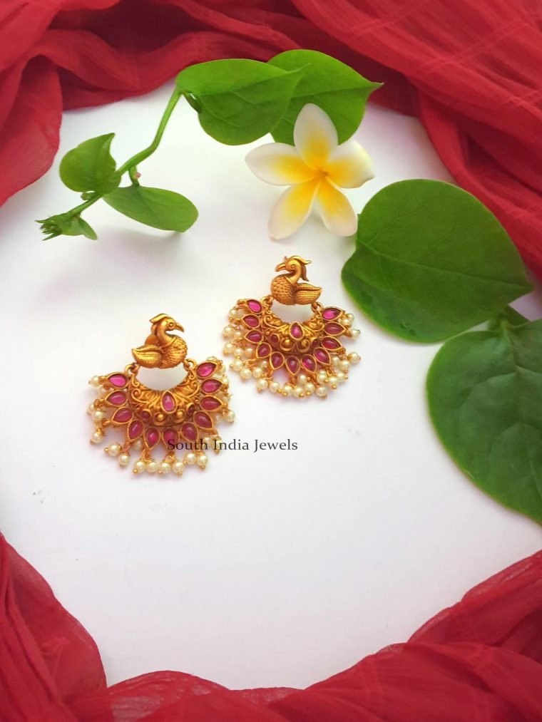 Beautiful Peacock Design Chandbali Earrings