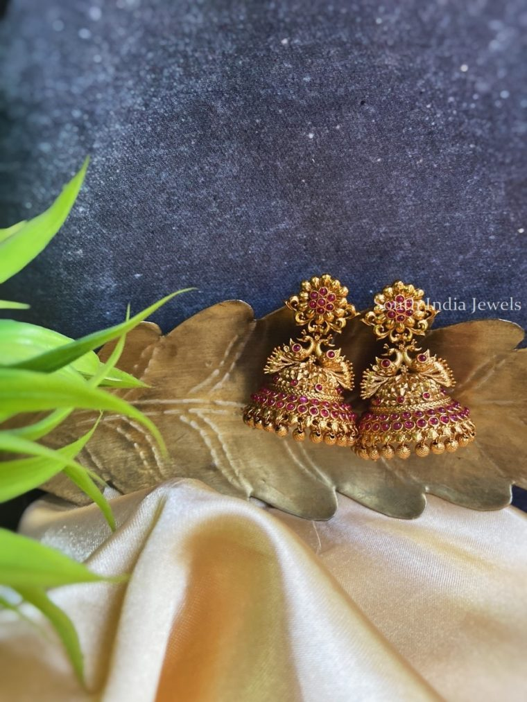 Beautiful Peacock Design Jhumkas