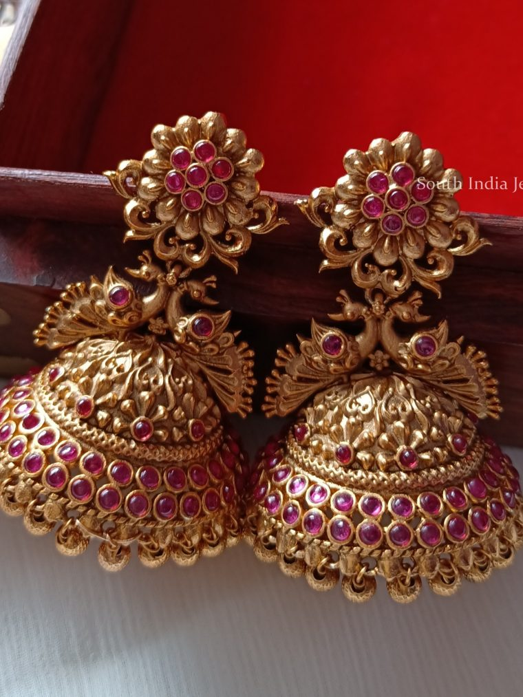 Beautiful Peacock Ruby Jhumkas