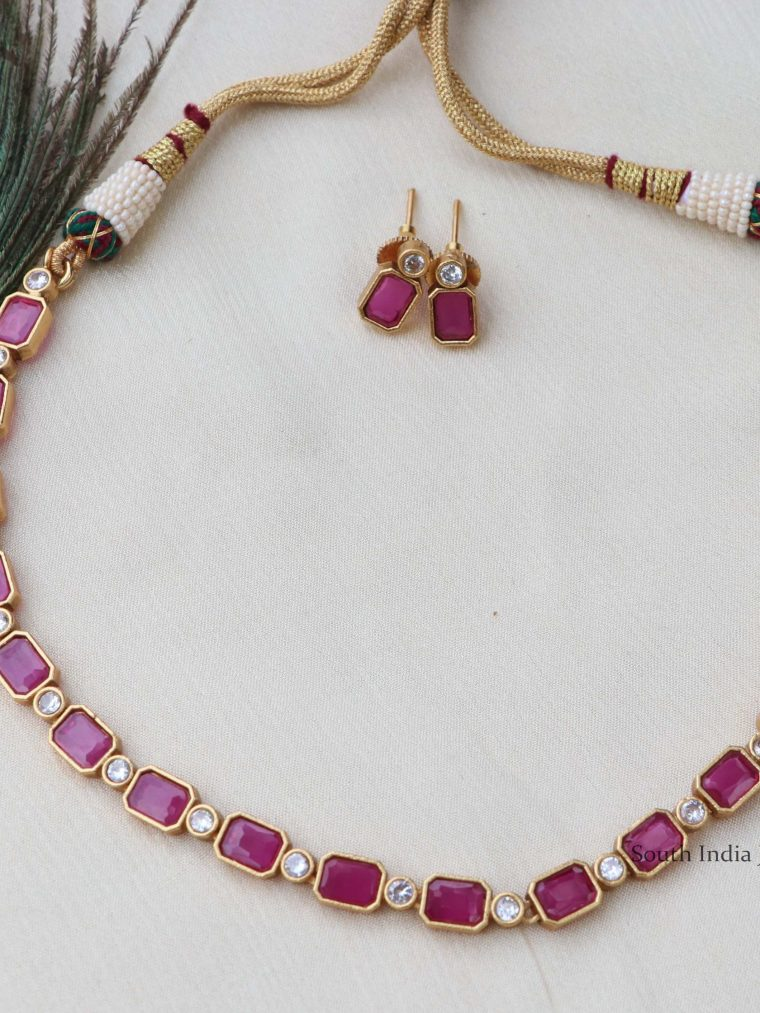 Beautiful Ruby White Stone Necklace
