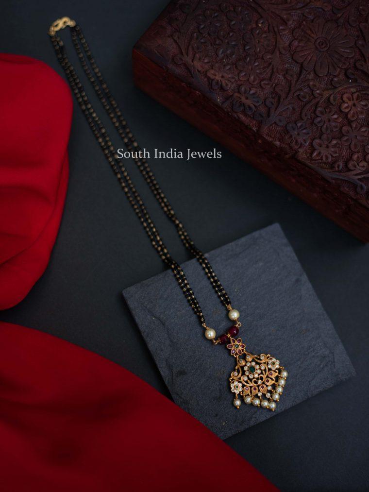 Black Beads Matte Finish Pendant Mangalsutra