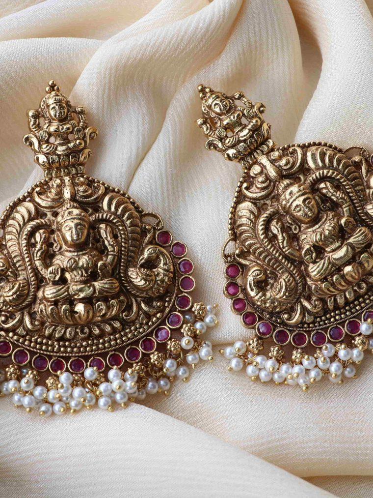 Bridal Lakshmi Design Gold Finish Earrings